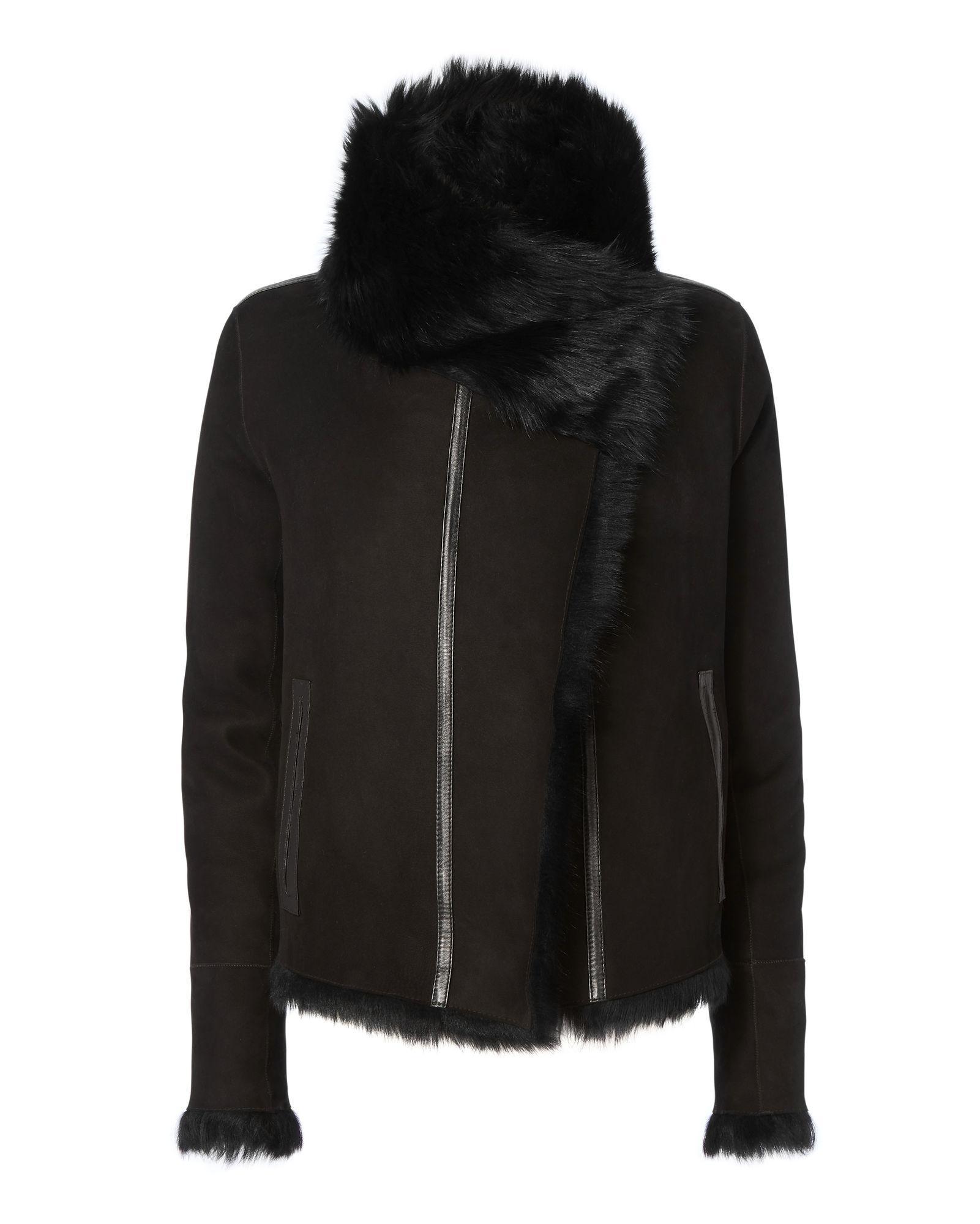 Yves Salomon Reversible Shearling Moto Jacket In Black