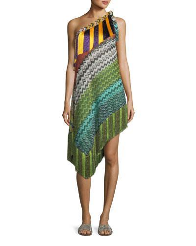 Missoni Fringe-Trim Short Asymmetric Beach Dress In Multi