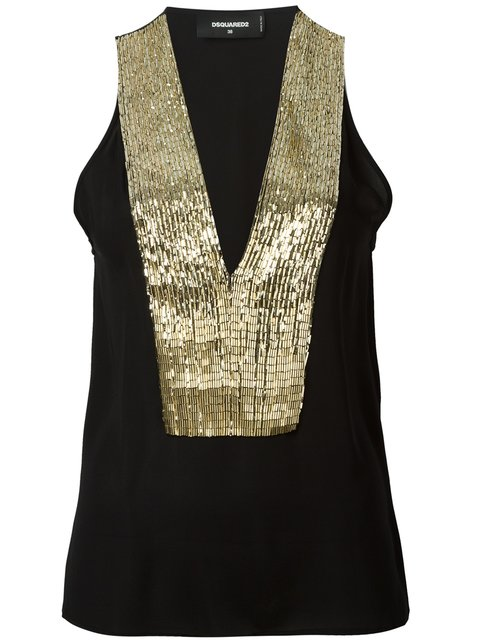 Dsquared2 Sequin Sleeveless Top - Black
