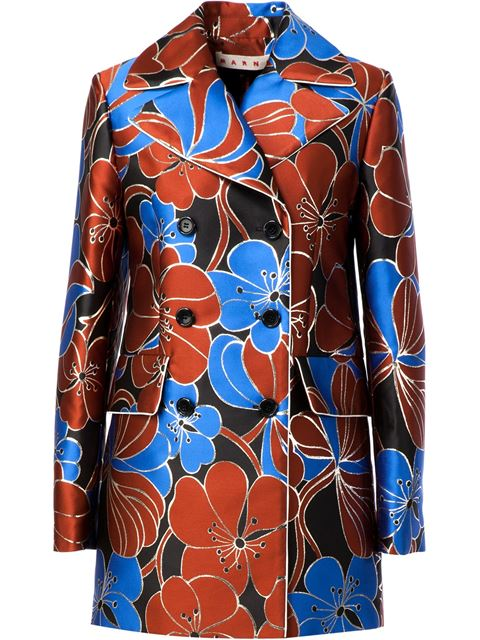 Marni Pimpernel Blossom Jacquard Double-breasted Jacket In Blue-red
