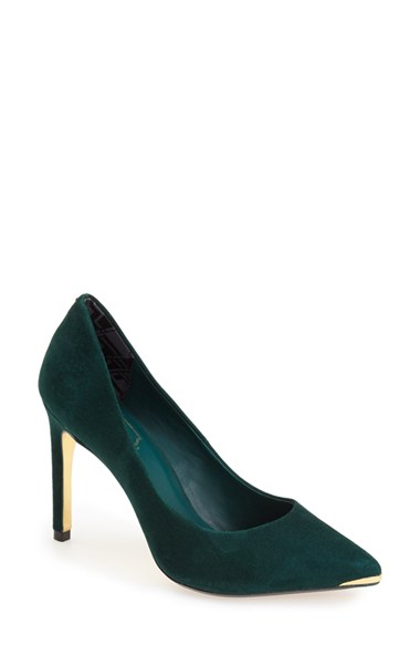 f22e47792e25c Ted Baker  Neevo  Pointy Toe Pump (Women) In Dark Green Suede