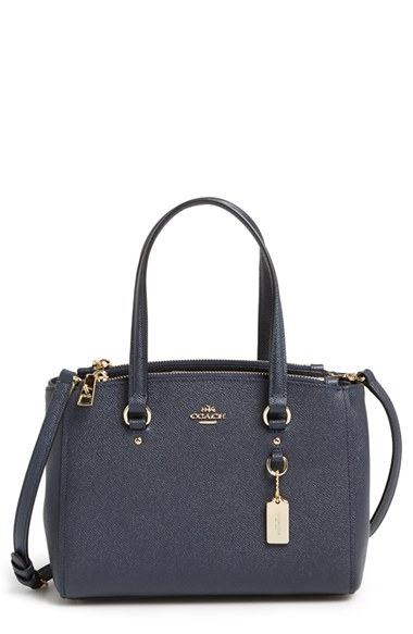Coach  Stanton 26  Crossgrain Leather Mini Zip Carryall Bag In Navy ... 2056b3f99f62c