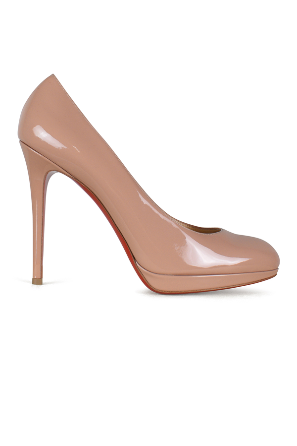 CHRISTIAN LOUBOUTIN Patent New Simple 120 Pumps 39 Nude