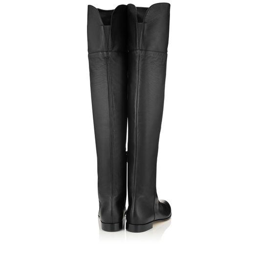 53a0b8518b7 Jimmy Choo Mitty Flat Black Grainy Calf Leather Flat Over The Knee Boots