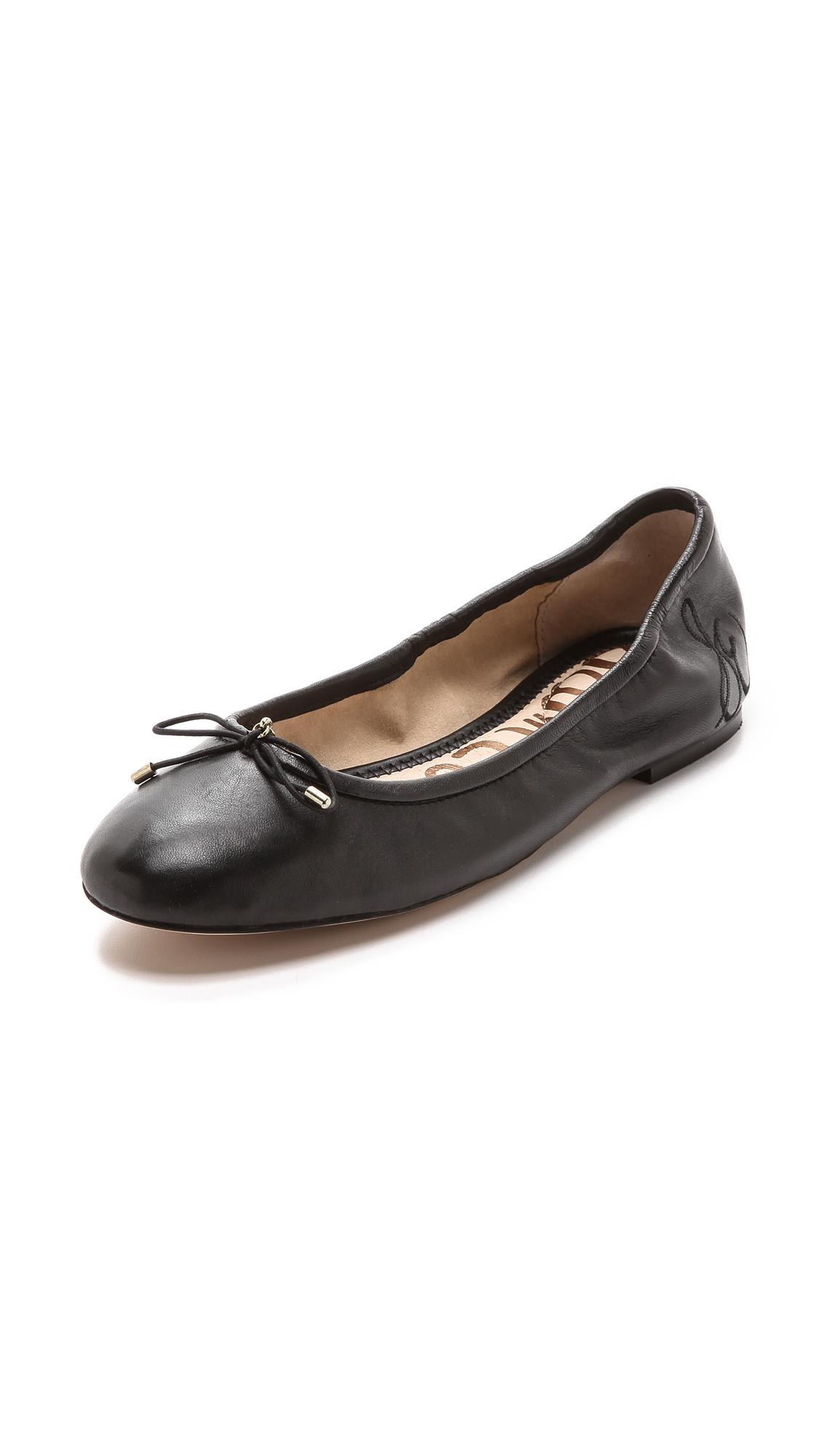 222a3186405c SAM EDELMAN 'Felicia' Leather Junior Ballerina Flats in Black. Sam Edelman