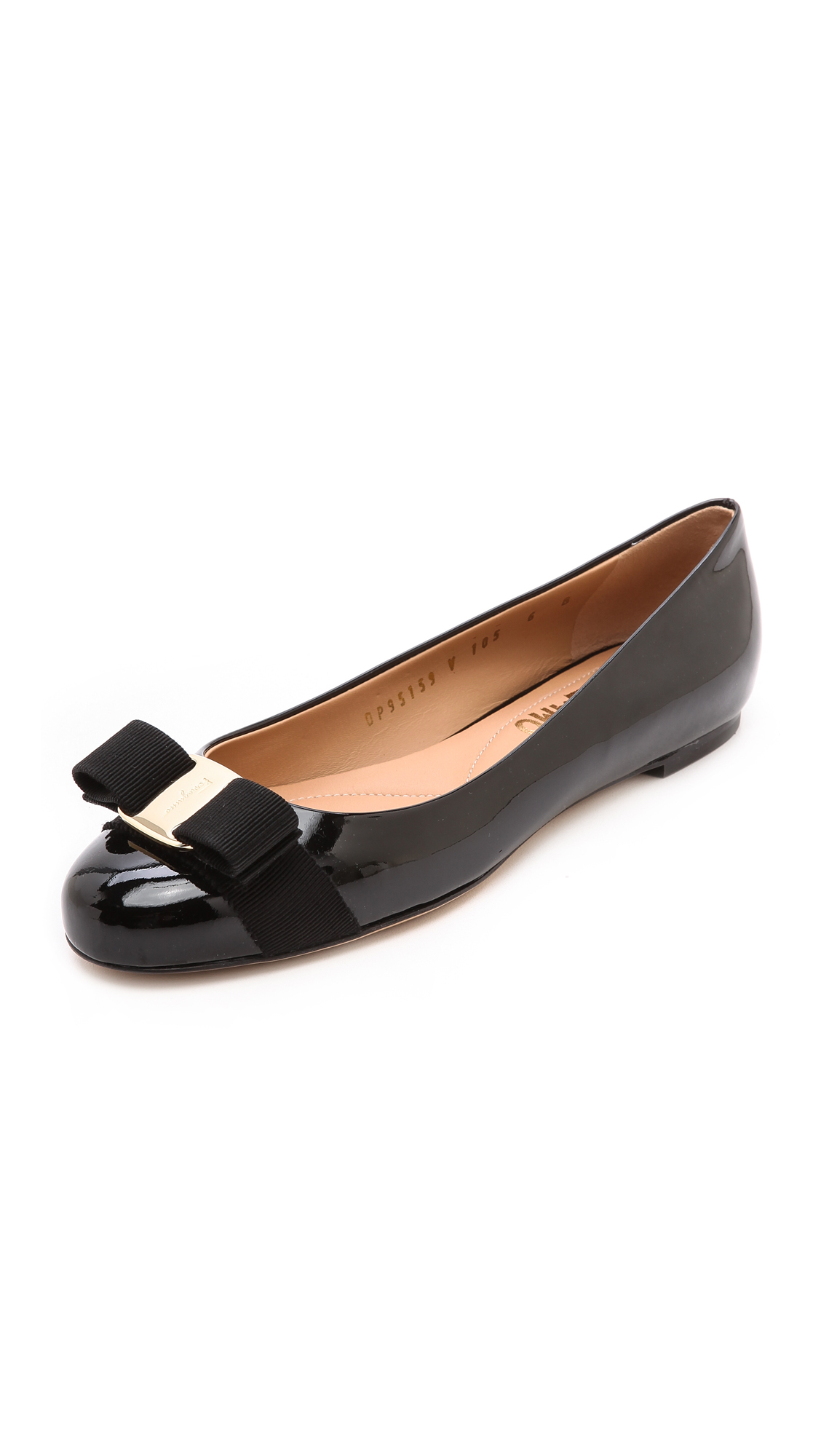 41c44764a Salvatore Ferragamo Varina Studded Bow-Embellished Patent-Leather Ballet  Flats In Black