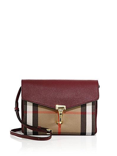 3f05f560f12 Burberry Macken Small House Check   Leather Crossbody Bag In Mahogany