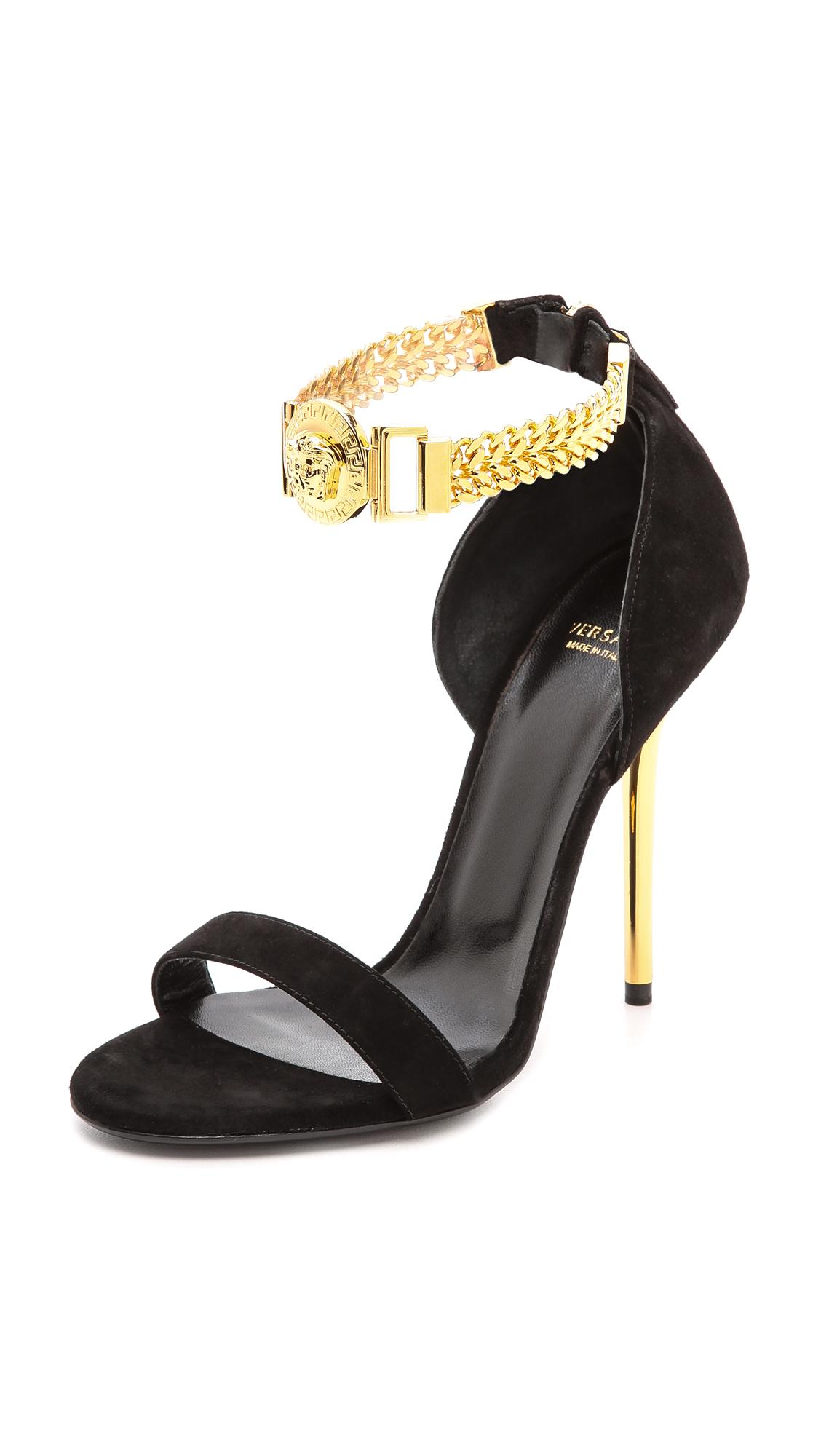 84e6367fce Versace Embellished Black Suede Ankle Strap Sandals | ModeSens