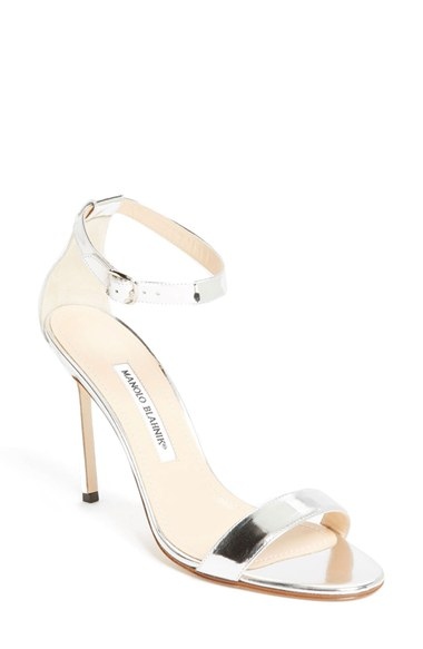 Manolo Blahnik Chaos Holo Metallic Leather Ankle-strap Sandals In Silver