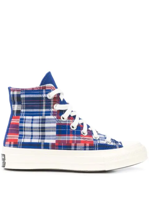 Converse Twisted Prep Chuck 70 Madras-print Sneakers In Blu/red ...