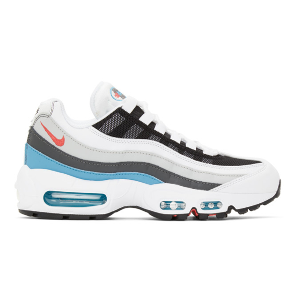 Air Max 95 Panelled Leather And Mesh Sneakers In Wht/red/blu