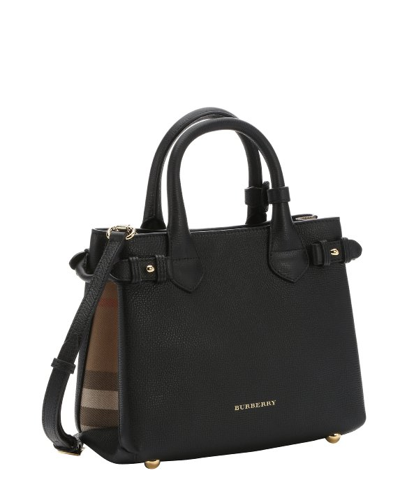 Burberry Black Calfskin And House Check Canvas Medium  Banner  Convertible  Tote 048d8ce852