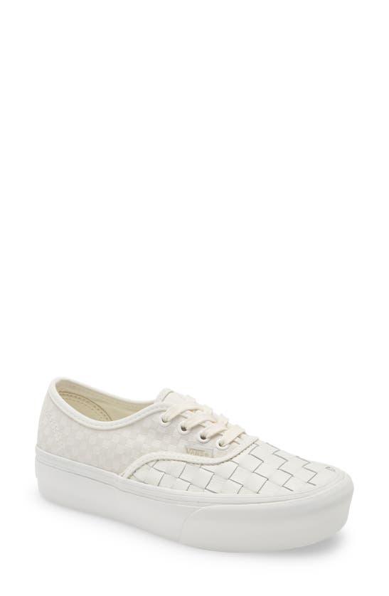 Woven Authentic Platform 2.0 Sneaker In Leather/blanc De Blanc
