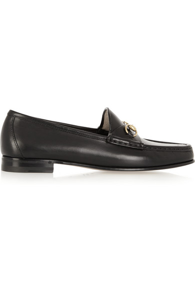 Gucci Slip On Shoes Brixton  Smooth Leather Horsebit-Detail Black In 1000 Nero