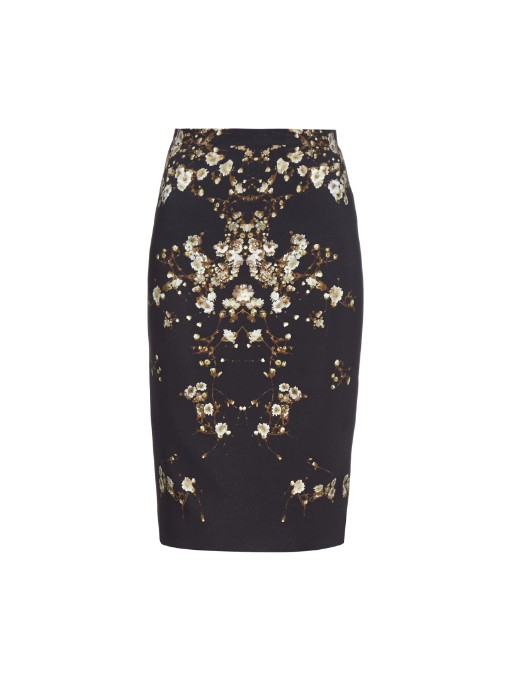 Givenchy Floral Printed Cady Pencil Skirt, Black