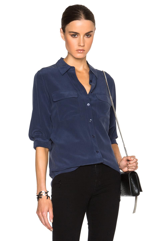368bc00c82a66a Equipment Slim Signature Short Sleeve Silk Shirt In Peacoat