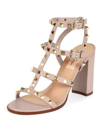 e869d8cbedd51 Valentino Rockstud Metallic Leather Block Heel Sandals In Rose Gold ...