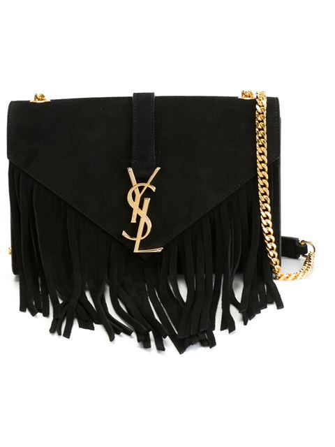 961e68d31387 Saint Laurent Classic Small Monogram Fringed Suede Shoulder Bag In  Nero-Black