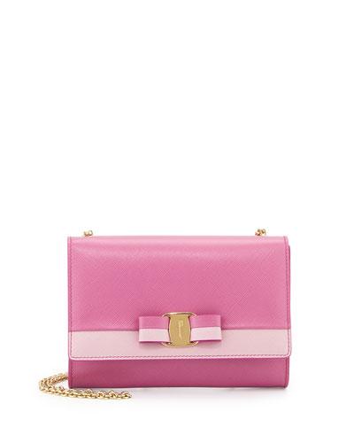 Salvatore Ferragamo Miss Vara Bow Bicolor Shoulder Bag, Anemone ... 0f720f51e8