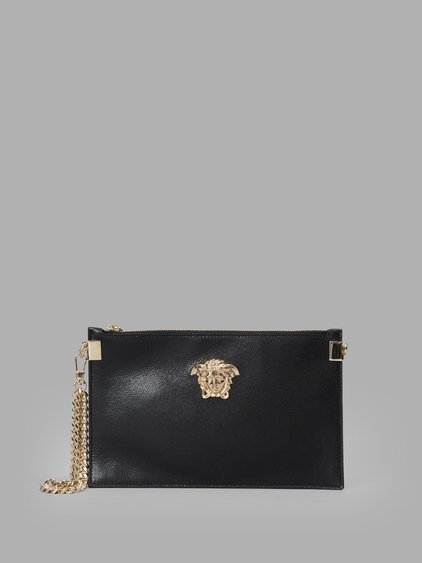 52c920b50313 Versace Black Leather Medusa Medallion Pouch