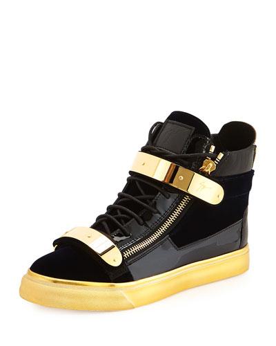 8332091ed78c Giuseppe Zanotti  Coby London  Leather Velvet Combo High-Top Sneakers In  Navy