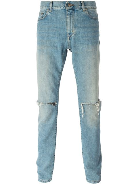02a3156c2f7 Saint Laurent Men's Low Waisted Washed Jeans In Blue | ModeSens