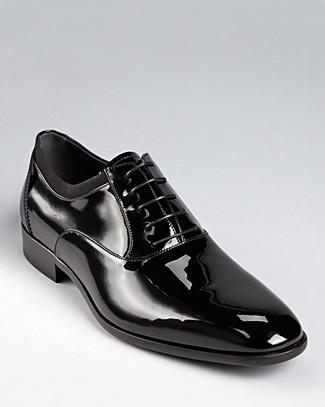 Salvatore Ferragamo Mens Belshaw Patent Lace Up Balmoral Dress Shoe
