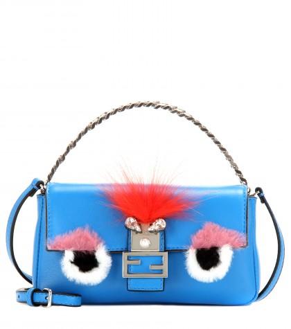 Fendi 'monster' Genuine Rabbit Fur & Genuine Fox Fur Micro Baguette - Blue In Blue Royal/ Tangerine