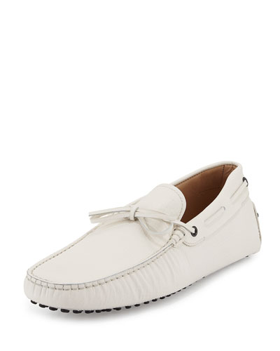 Tod's Gommini Coated Leather Tie Drivers In White