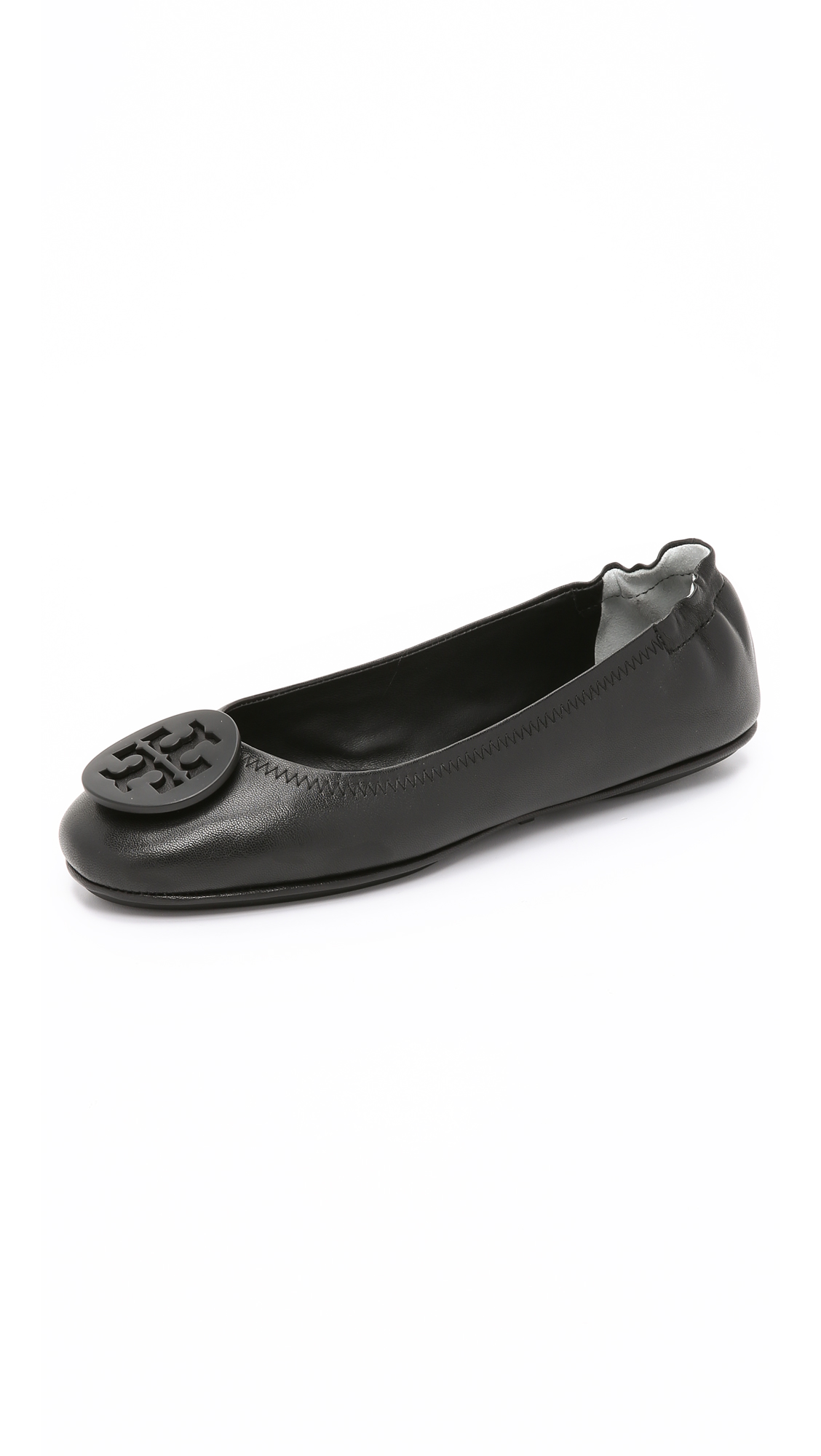 Tory Burch Women's Minnie Leather Travel Ballet Flats In Black