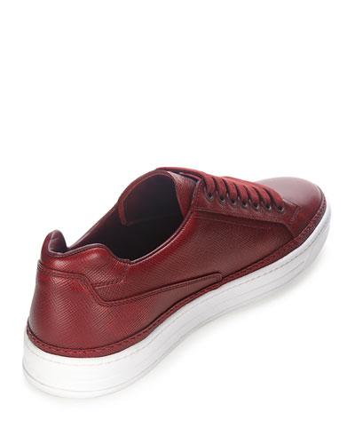 Prada Saffiano Leather Low-top Sneaker In Dark Red