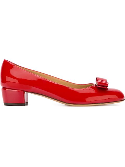 Salvatore Ferragamo Vara Bow-Embellished Patent-Leather Pumps In Red