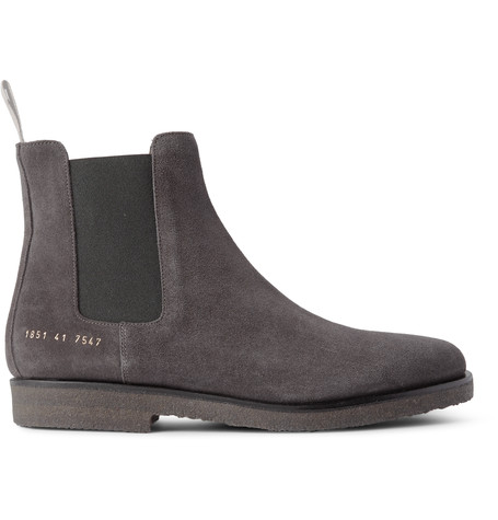 Common Projects Suede Chelsea Boots In Grey