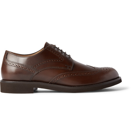 Tod's Leather Wingtip Derby Shoes In Brown