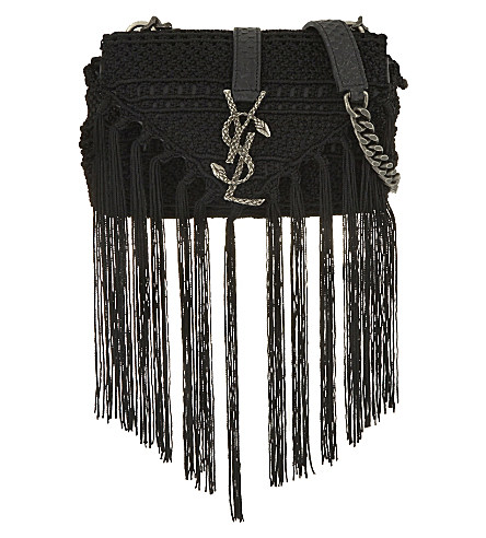 cf74d482da Saint Laurent Monogram Baby Chain Serpent Crochet Crossbody Bag ...