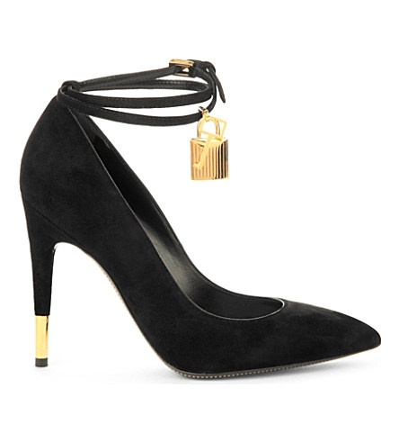 30730a29e14 Tom Ford Suede Padlock Ankle-Strap Pump