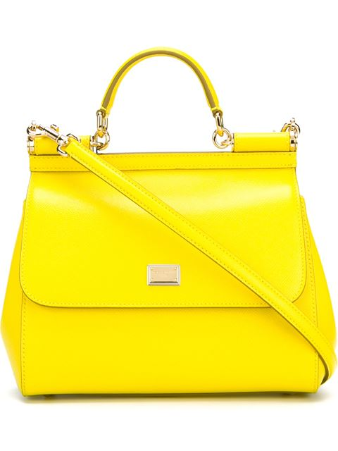 f659fb458c7a Dolce   Gabbana Small Miss Sicily Lizard-Embossed Leather Top-Handle  Satchel In Yellow