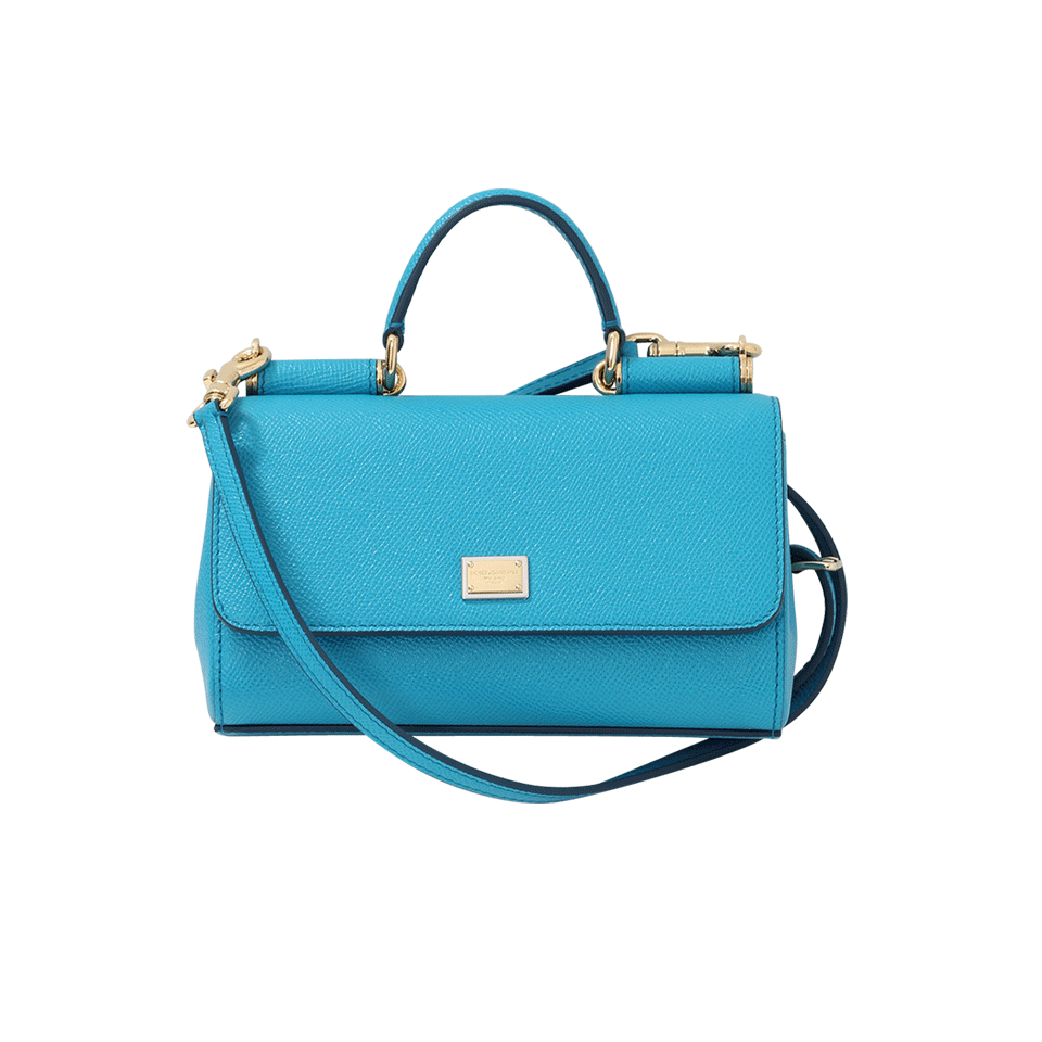 Blue calf leather mini  Von  wallet crossbody bag from Dolce   Gabbana  featuring a pebbled leather texture cf1df314d3a9a