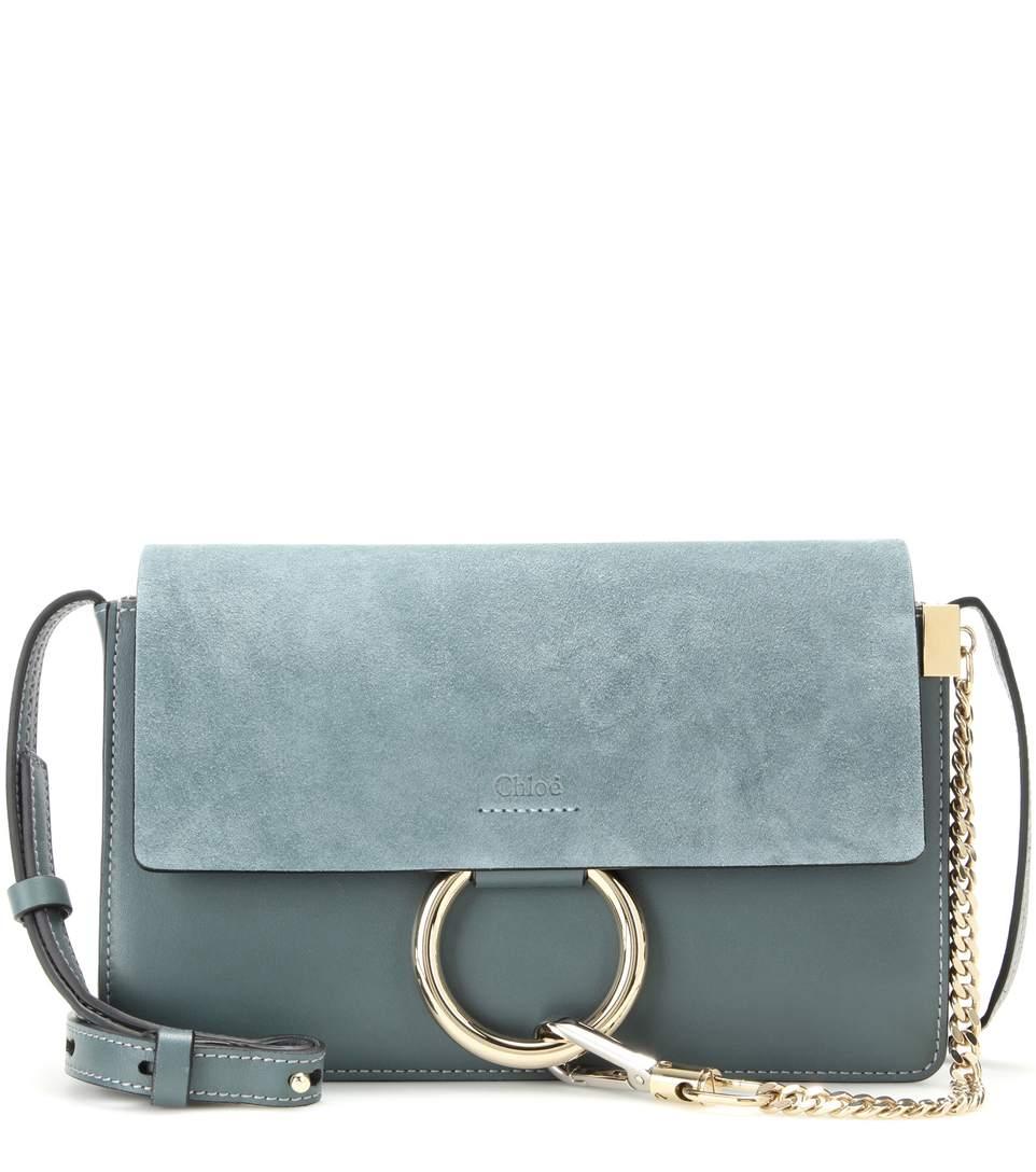 9f23ec9843 ChloÉ Faye Small Suede & Leather Shoulder Bag, Light Blue   ModeSens