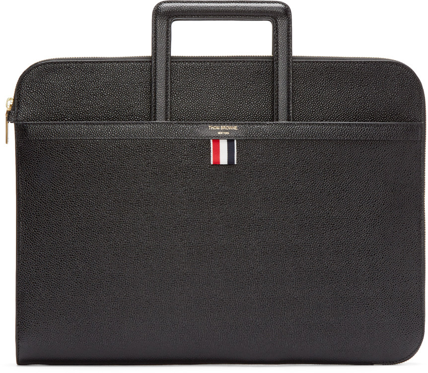 Thom Browne Sliding-handle Grained-leather Document Holder In Black