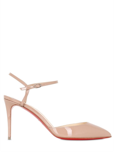 Christian Louboutin Rivierina Patent Ankle-wrap Red Sole Pump, Nude