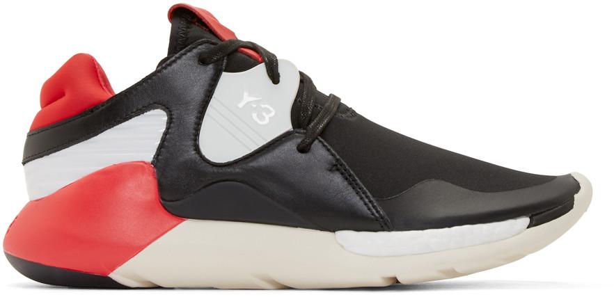 Y-3 Black & Red Boost Qr Sneakers