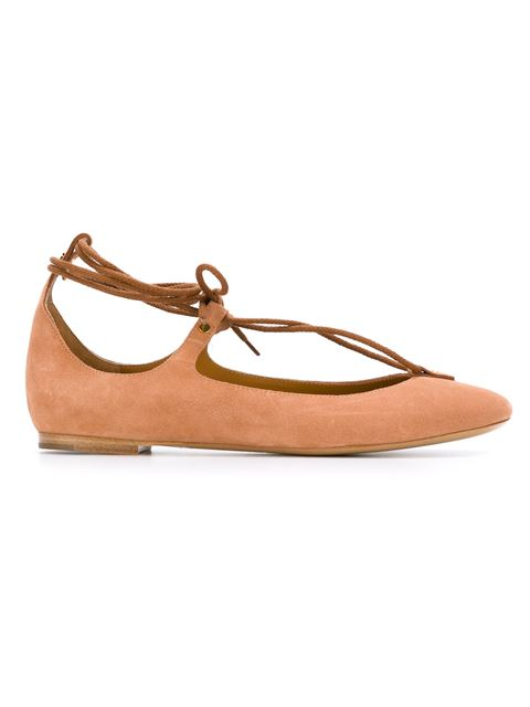 ChloÉ Lace-up Suede Ballet Flats In Camel