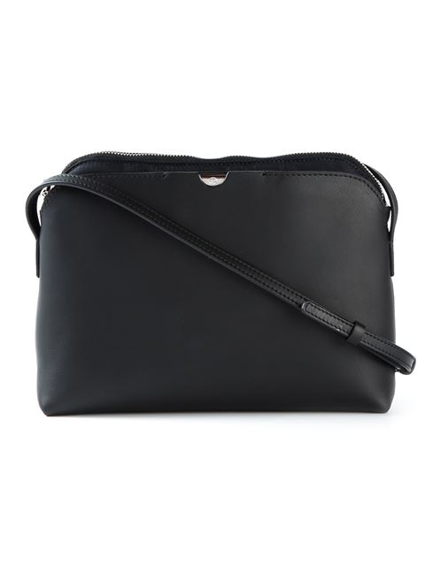 The Row Multi-pouch Leather And Nylon Cross-body Bag In Black