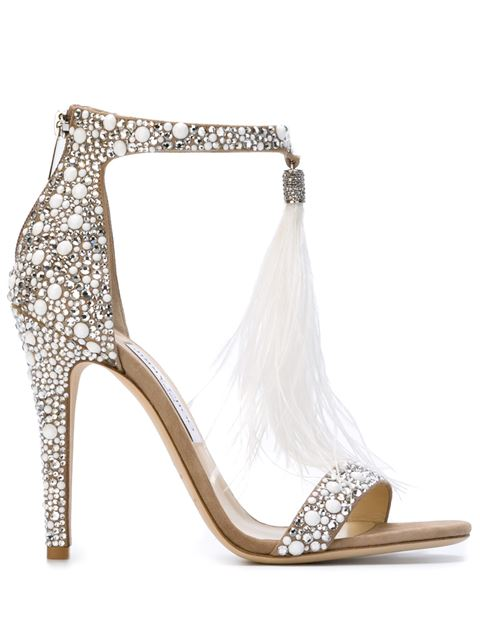 518e75e927 Jimmy Choo Viola 110 White Suede And Hot Fix Crystal Embellished Sandals  With An Ostrich Feather