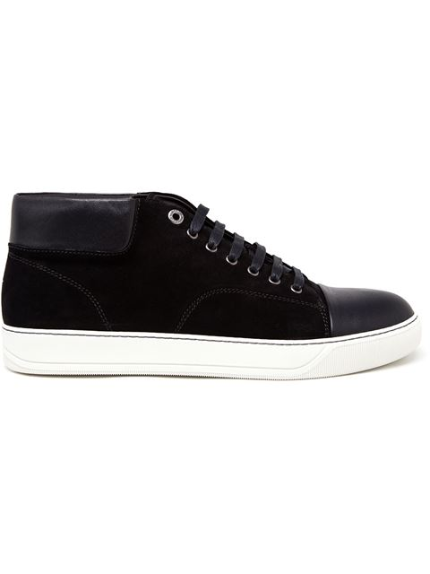 Lanvin Classic Leather & Suede High-top Sneakers In Black