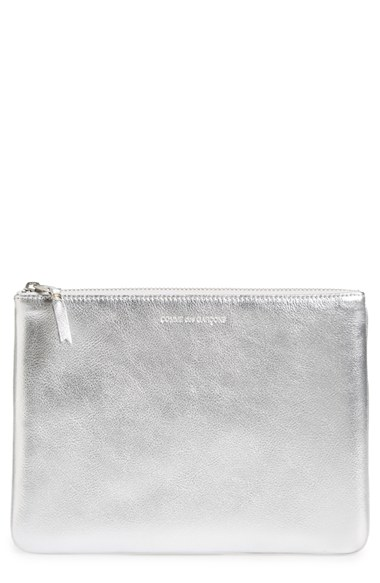 Comme Des GarÇons 'gold Line' Leather Pouch In Silver
