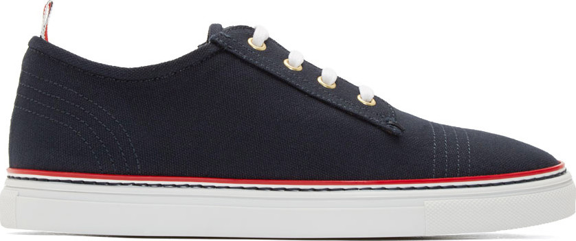 Thom Browne Leather Low Lace-up Sneakers In Navy