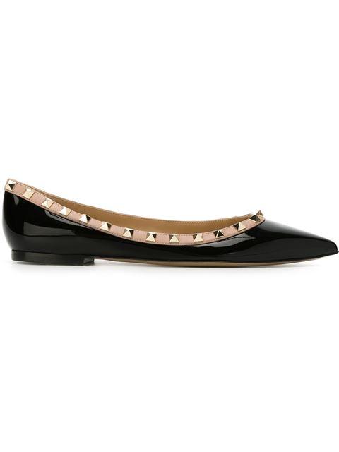 Valentino 'Rockstud Ballerina' Leather Skimmer Flats In Black