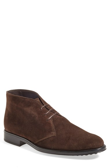 Tod's Suede Lace-Up Chelsea Boot, Brown In Ebony Brown Suede